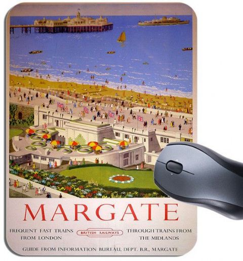Margate By Train Vintage Railway Poster Mouse Mat. British Railways Mouse Pad